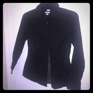 Black with small White Polka  Dots Top Sz. Small